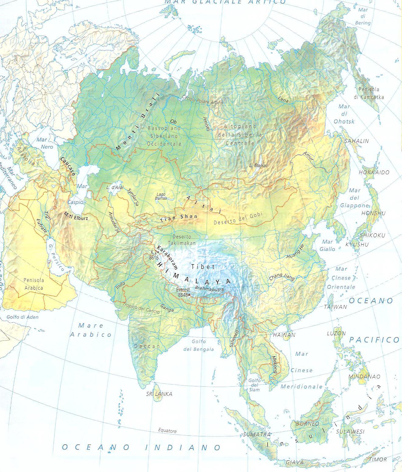 Cartina Muta Fisica Asia.Geografia Stefanoni Danilo